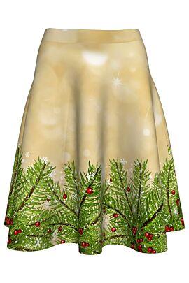 Fusta dames clos imprimata cu  ramuri de brad pentru sarbatorile de iarna