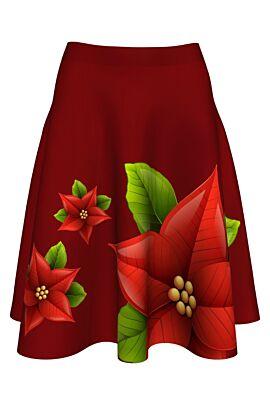 fusta roșie cloș Dames  imprimată cu steaua craciunului