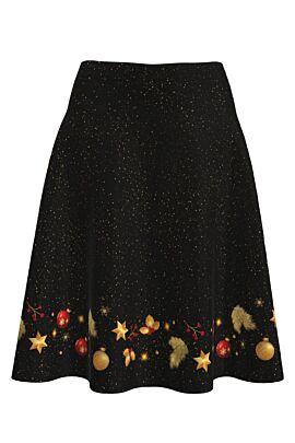 Fusta dames clos neagra imprimata cu ornamente de Craciun