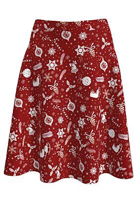 Fusta Dames  clos rosie imprimata cu ornamente albe de Craciun