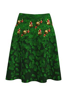 Fusta Dames clos verde imprimata cu ramuri de brad si globuri.