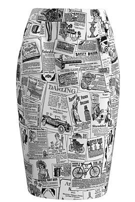 Fusta DAMES  conica cu imprimeu ziar alb negru