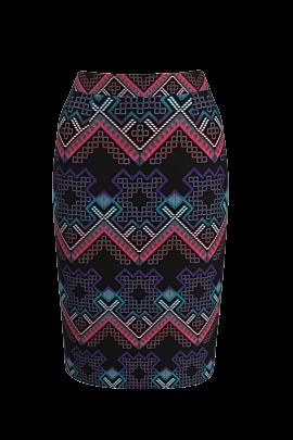 fusta DAMES conica neagra cu imprimeu multicolor traditional romanesc