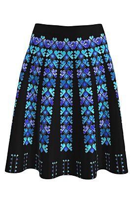 Fusta DAMES de craciun neagra clos imprimata cu motive traditionale albastre