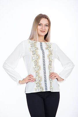 Bluza casual tip ie cu motive traditionale Banat M1102