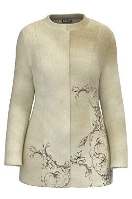 Palton dama bej, elegant si calduros imprimat Floral CMD1467