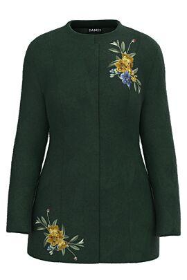 Palton dama verde, elegant si calduros imprimat Floral CMD1460