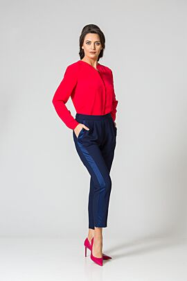 pantaloni DAMES Black Friday bleumarin pe bata de elastic cu vipusca satinata si buzunare