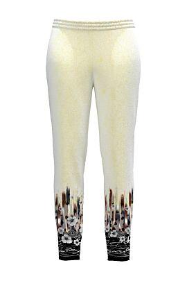 Pantaloni DAMES albi din catifea cu buzunare