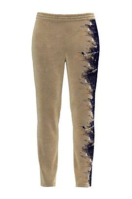 Pantaloni bej cu bleumarin din catifea cu buzunare CMD433