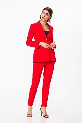 Pantaloni DAMES de craciun office rosii cu buzunare