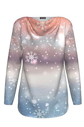 pulover DAMES cu maneca lunga imprimat multicolor cu fulgi si stelute de gheata ideal pentru Craciun