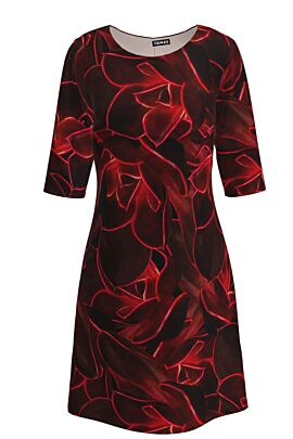 Rochie  casual cu maneca trei sferturi imprimata cu accente electrizante rosii