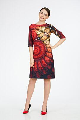 Rochie DAMES casual cu maneca imprimata digital. Croiala dreaptade lungime medie, avantajeaza orice tip de silueta.