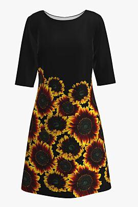 Rochie casual cu maneca imprimata digital floral Floarea Soarelui CMD206