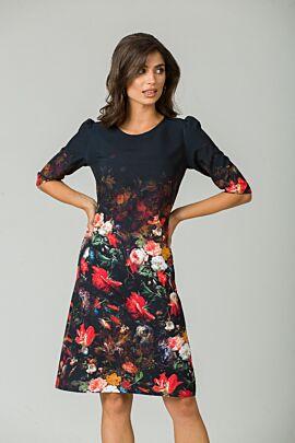 rochie DAMES neagra cu imprimeu floral si maneca trei sferturi