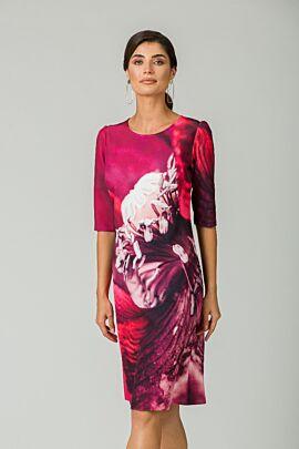 Rochie casual cu maneca imprimata digital floral CMD166
