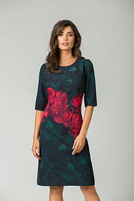 rochie DAMES de craciun  cu maneca trei sferturi imprimata cu trandafiri rosii