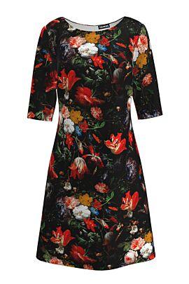 Rochie DAMES de craciun cu maneca trei sferturi neagra cu flori multicolore