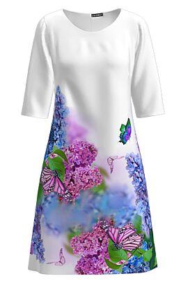 Rochie  DAMES alba casual imprimata flori de liliac