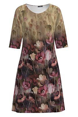 Rochie casual bej imprimata cu model Floral CMD1263