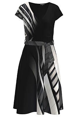 Rochie casual de vara cu maneca scurta si imprimeu abstract CMD1255