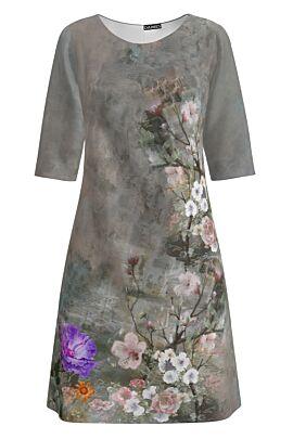 Rochie DAMES  casual gri  imprimata cu model floral