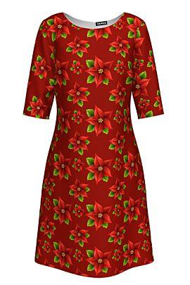 Rochie casual DAMES rosie cu maneca trei sferturi imprimata cu floarea Craciunului