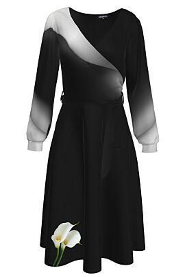 Rochie eleganta cu maneca lunga  imprimata Cale CMD1271
