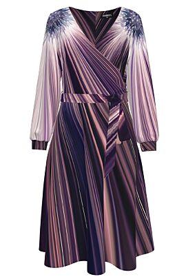 Rochie eleganta cu maneca lunga  imprimata in nuante de mov CMD1267