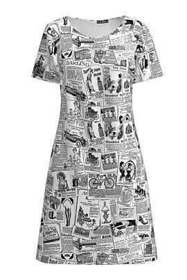 Rochie DAMES  evazata ziar imprimata digital