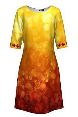rochie casual DAMES cu  maneca trei sferturi imprimata cu fudite de Craciun