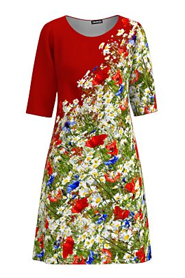 rochie rosie DAMES imprimata cu flori de camp multicolore