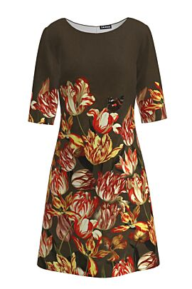 Rochie casual cu maneca imprimata digital floral Lalele CMD205