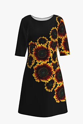 Rochie casual cu maneca imprimata digital floral Sunflowers CMD210