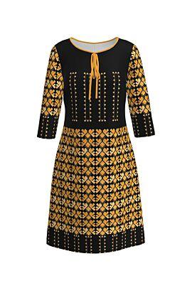 Rochie DAMES neagra de zi cu print traditional galben