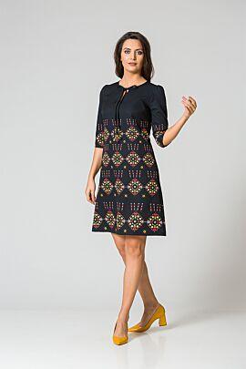 Rochie DAMES neagra imprimta cu motive traditionale romanesti multicolore