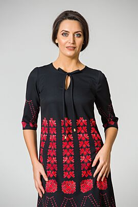 Rochie DAMES neagra imprimata cu motive traditionale rosii