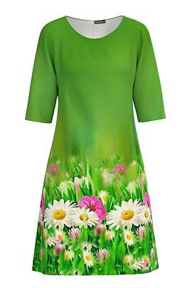 Rochie DAMES verde evazata imprimată digital cu motive florale.