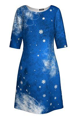 Rochie dames albastra cu maneca trei sferturi imprimata Craciun cu stele de gheata rochie Frozen