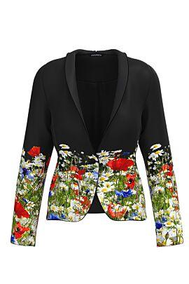 sacou negru dames cu imprimeu  floral multicolor flori de camp