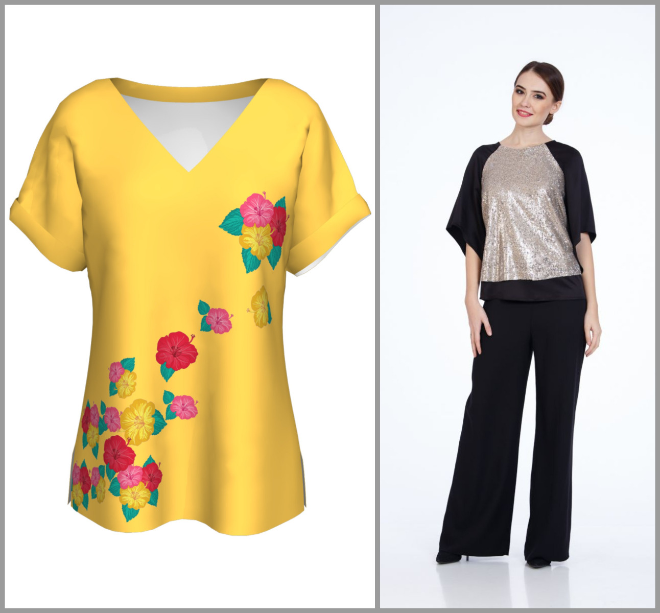 dames bluza flori pantaloni largi